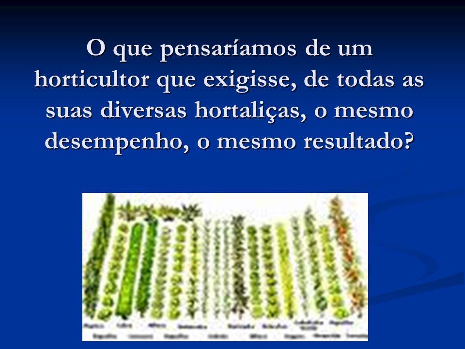 O que pensaríamos de um horticultor que exigisse, de todas as suas diversas hortaliças, o mesmo desempenho, o mesmo resultado?
