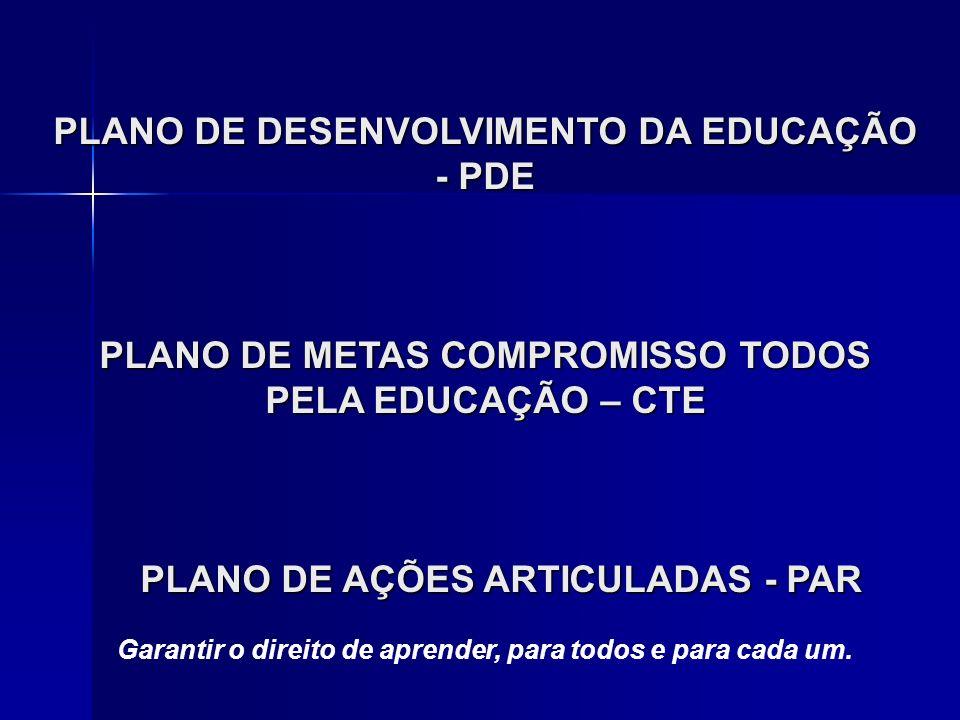 PLANO DE DESENVOLVIMENTO DA EDUCAÇÃO - PDE PLANO DE METAS COMPROMISSO TODOS PELA EDUCAÇÃO – CTE PLANO DE AÇÕES ARTICULADAS - PAR PLANO DE AÇÕES ARTICULADAS - PAR Garantir o direito de aprender, para todos e para cada um.