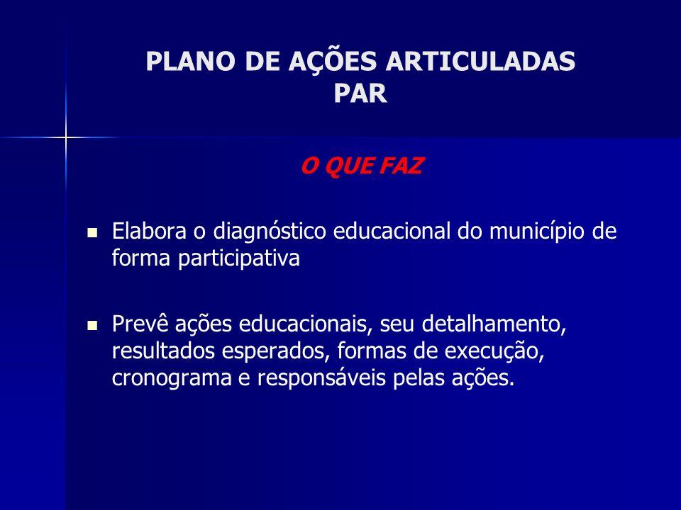 O QUE FAZ Elabora o diagnóstico educacional do município de forma participativa Prevê ações educacionais, seu detalhamento, resultados esperados, formas de execução, cronograma e responsáveis pelas ações.