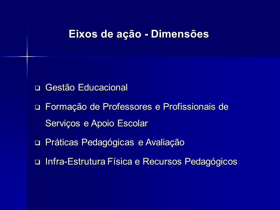 Gestão Educacional Gestão Educacional Formação de Professores e Profissionais de Serviços e Apoio Escolar Formação de Professores e Profissionais de Serviços e Apoio Escolar Práticas Pedagógicas e Avaliação Práticas Pedagógicas e Avaliação Infra-Estrutura Física e Recursos Pedagógicos Infra-Estrutura Física e Recursos Pedagógicos Eixos de ação - Dimensões