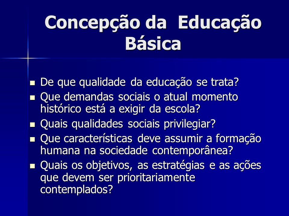 Concepção da Educação Básica De que qualidade da educação se trata.
