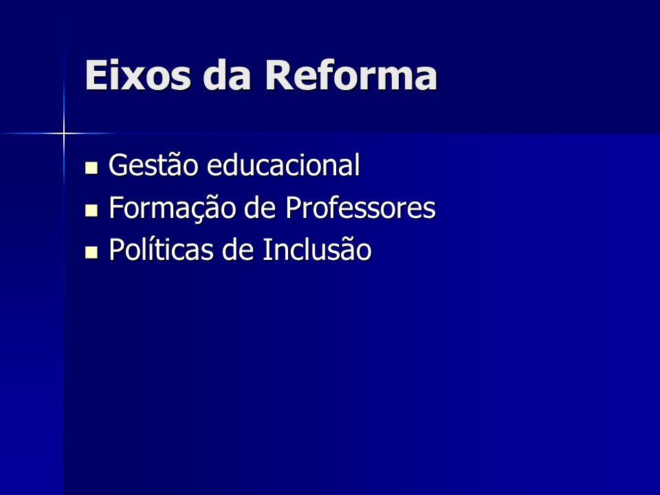 Eixos da Reforma Gestão educacional Gestão educacional Formação de Professores Formação de Professores Políticas de Inclusão Políticas de Inclusão