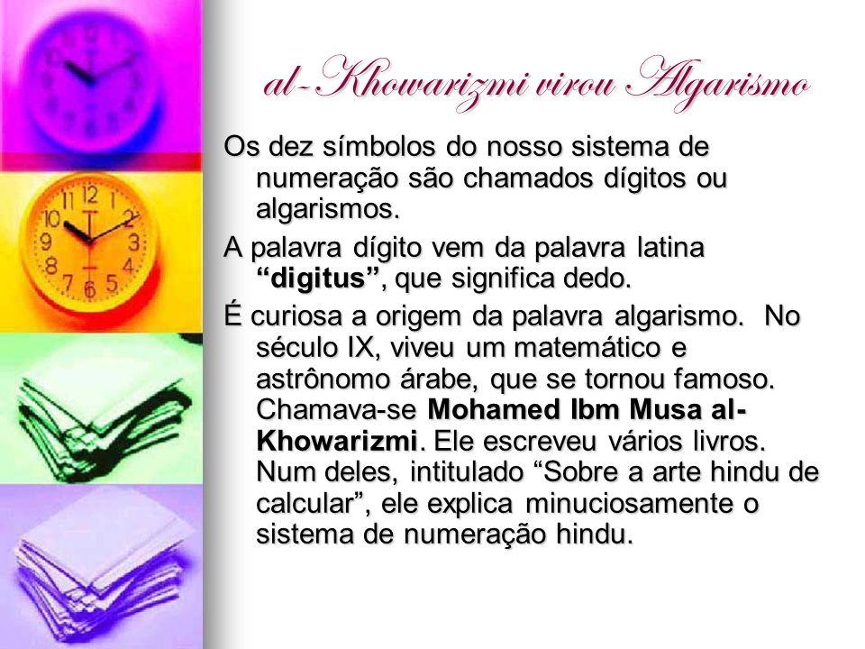 al-Khowarizmi virou Algarismo Os dez símbolos do nosso sistema de numeração são chamados dígitos ou algarismos. A palavra dígito vem da palavra latina
