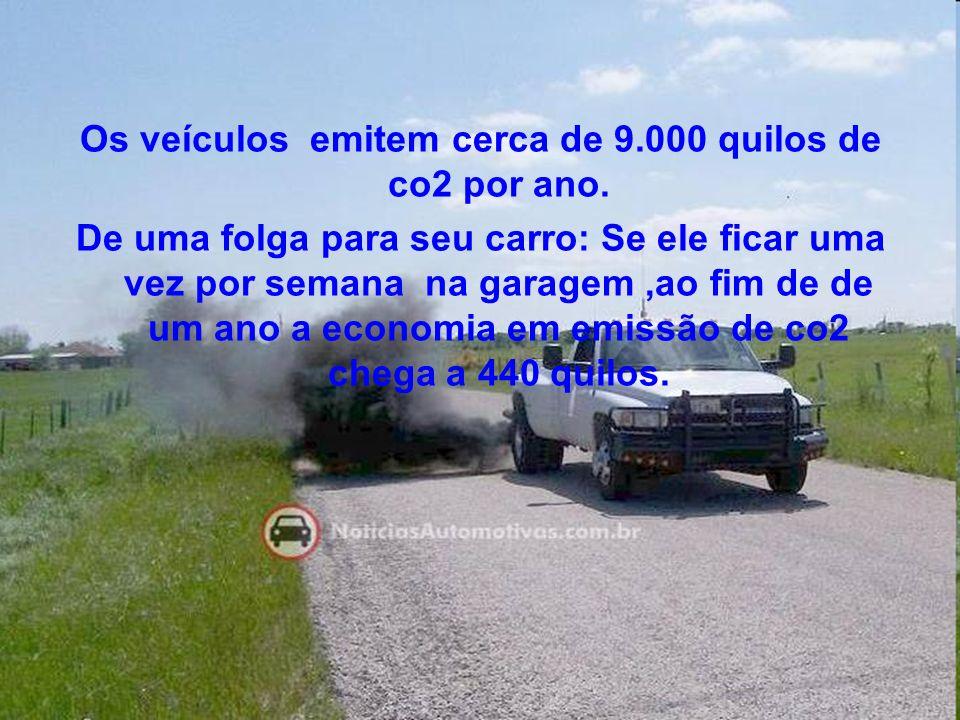 Os veículos emitem cerca de 9.000 quilos de co2 por ano. De uma folga para seu carro: Se ele ficar uma vez por semana na garagem,ao fim de de um ano a