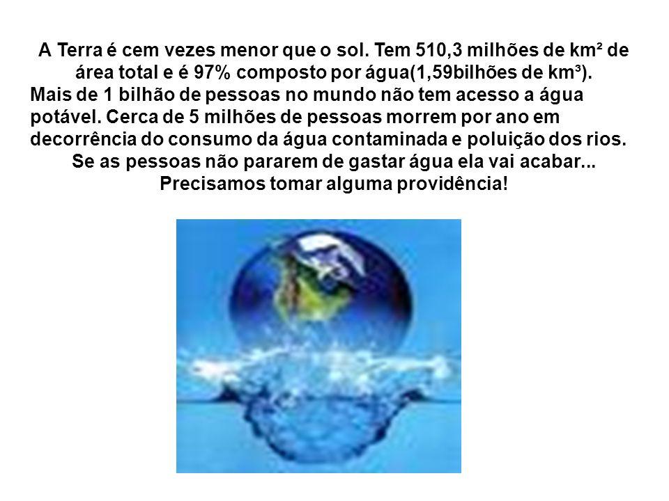 A Terra é cem vezes menor que o sol. Tem 510,3 milhões de km² de área total e é 97% composto por água(1,59bilhões de km³). Mais de 1 bilhão de pessoas