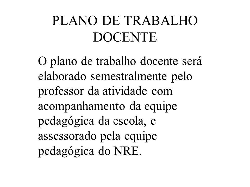 PLANO DE TRABALHO DOCENTE O plano de trabalho docente será elaborado semestralmente pelo professor da atividade com acompanhamento da equipe pedagógic