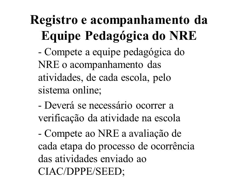 Registro e acompanhamento da Equipe Pedagógica do NRE - Compete a equipe pedagógica do NRE o acompanhamento das atividades, de cada escola, pelo siste