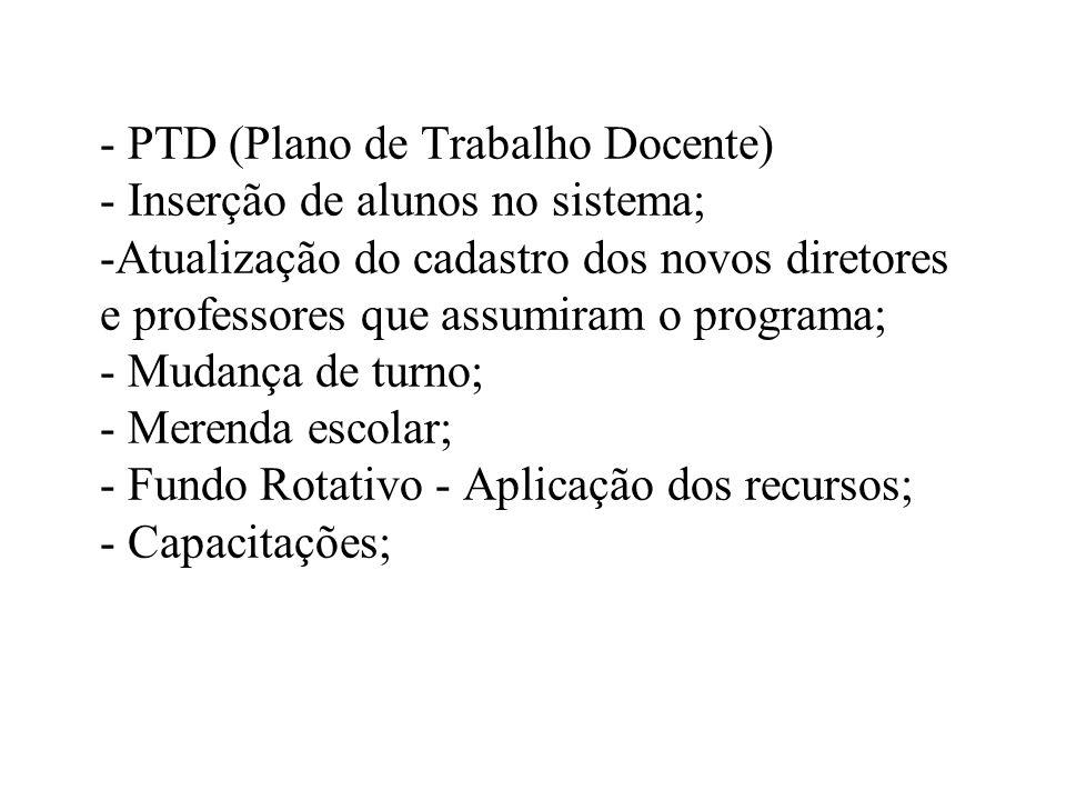 - PTD (Plano de Trabalho Docente) - Inserção de alunos no sistema; -Atualização do cadastro dos novos diretores e professores que assumiram o programa