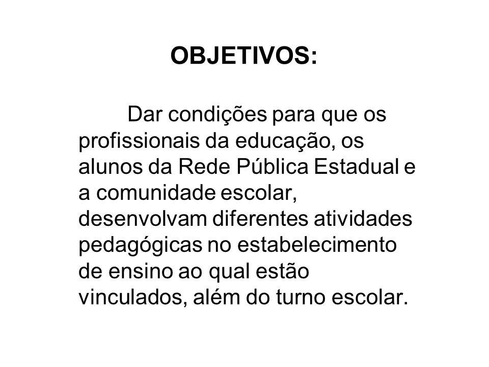 OBJETIVOS: Dar condições para que os profissionais da educação, os alunos da Rede Pública Estadual e a comunidade escolar, desenvolvam diferentes ativ
