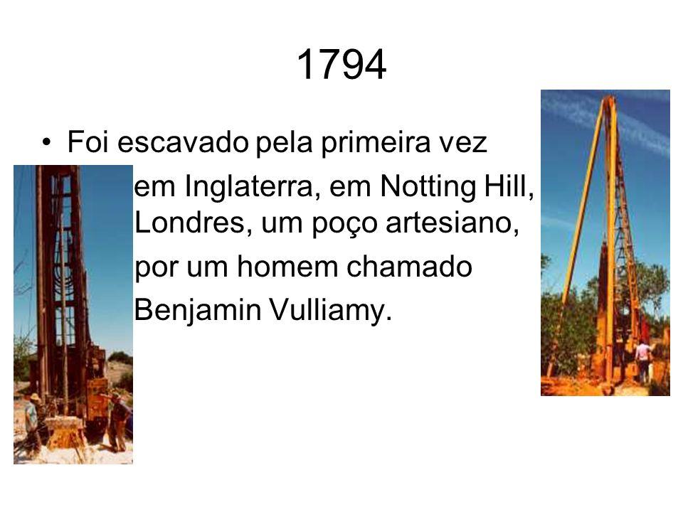 1794 Foi escavado pela primeira vez em Inglaterra, em Notting Hill, Londres, um poço artesiano, por um homem chamado Benjamin Vulliamy.