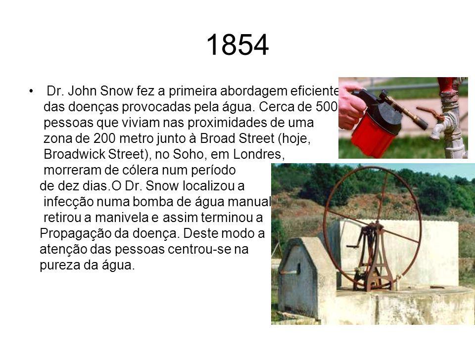 1854 Dr. John Snow fez a primeira abordagem eficiente das doenças provocadas pela água. Cerca de 500 pessoas que viviam nas proximidades de uma zona d