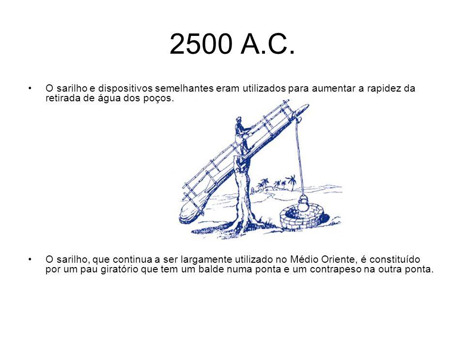 2500 A.C. O sarilho e dispositivos semelhantes eram utilizados para aumentar a rapidez da retirada de água dos poços. O sarilho, que continua a ser la