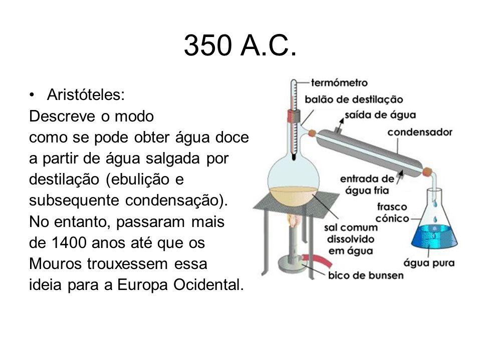 350 A.C. Aristóteles: Descreve o modo como se pode obter água doce a partir de água salgada por destilação (ebulição e subsequente condensação). No en