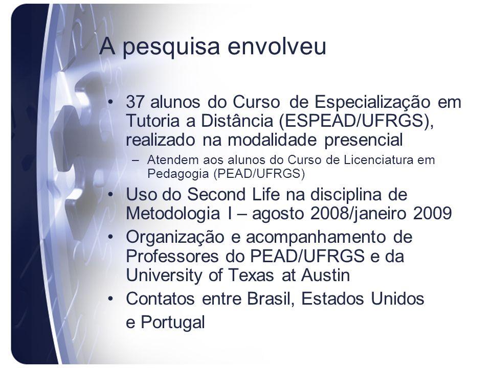 A pesquisa envolveu 37 alunos do Curso de Especialização em Tutoria a Distância (ESPEAD/UFRGS), realizado na modalidade presencial –Atendem aos alunos