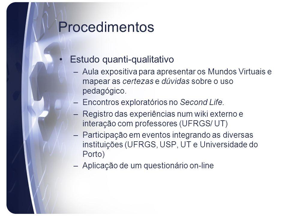 Procedimentos Estudo quanti-qualitativo –Aula expositiva para apresentar os Mundos Virtuais e mapear as certezas e dúvidas sobre o uso pedagógico. –En