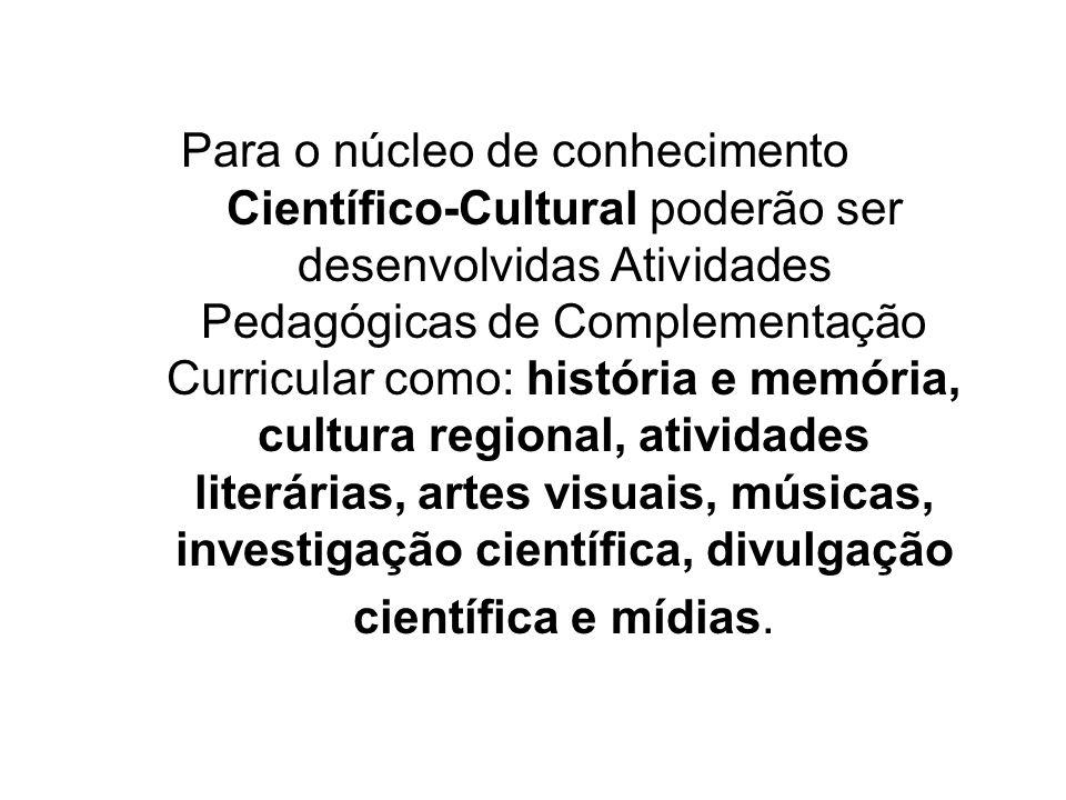 Para o núcleo de conhecimento Científico-Cultural poderão ser desenvolvidas Atividades Pedagógicas de Complementação Curricular como: história e memór