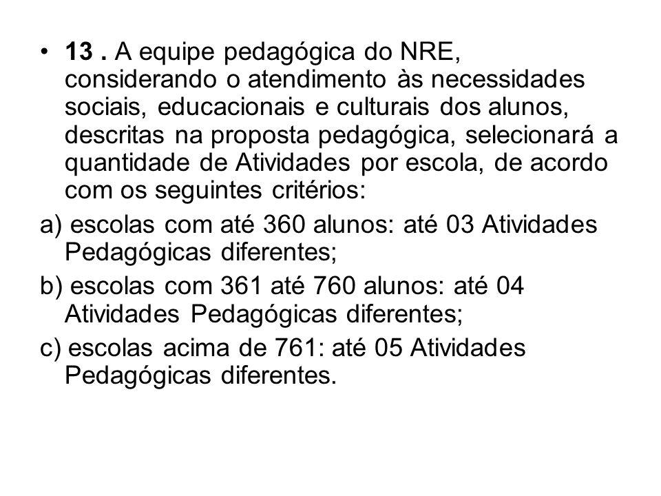 13. A equipe pedagógica do NRE, considerando o atendimento às necessidades sociais, educacionais e culturais dos alunos, descritas na proposta pedagóg