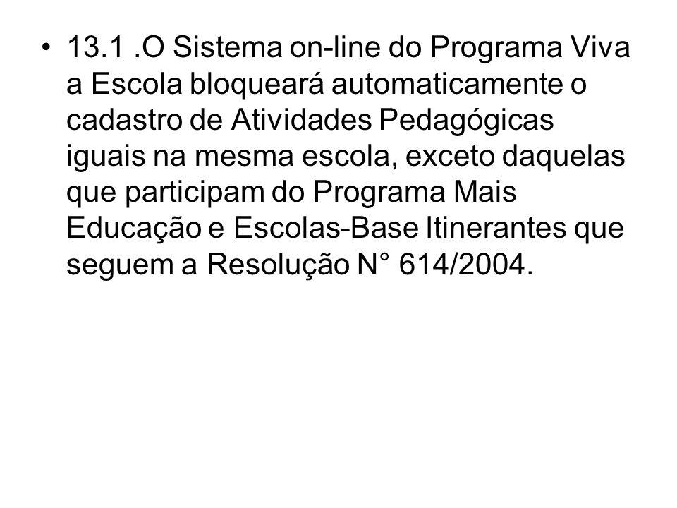 13.1.O Sistema on-line do Programa Viva a Escola bloqueará automaticamente o cadastro de Atividades Pedagógicas iguais na mesma escola, exceto daquela