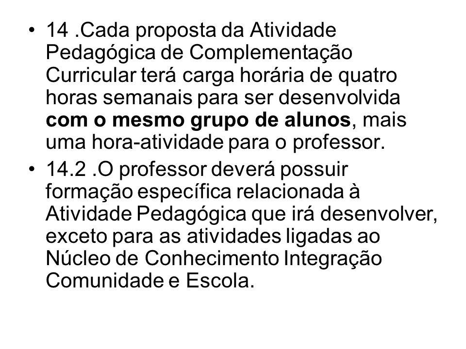 14.Cada proposta da Atividade Pedagógica de Complementação Curricular terá carga horária de quatro horas semanais para ser desenvolvida com o mesmo gr