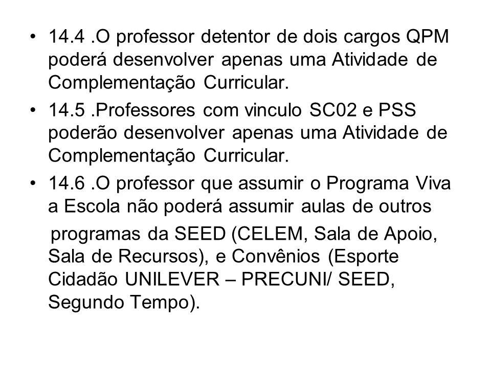 14.4.O professor detentor de dois cargos QPM poderá desenvolver apenas uma Atividade de Complementação Curricular. 14.5.Professores com vinculo SC02 e