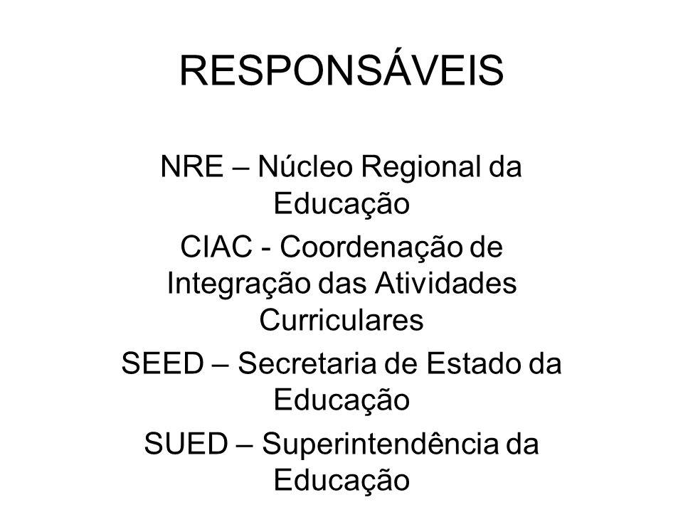 RESPONSÁVEIS NRE – Núcleo Regional da Educação CIAC - Coordenação de Integração das Atividades Curriculares SEED – Secretaria de Estado da Educação SU