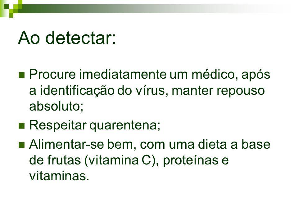 Ao detectar: Procure imediatamente um médico, após a identificação do vírus, manter repouso absoluto; Respeitar quarentena; Alimentar-se bem, com uma