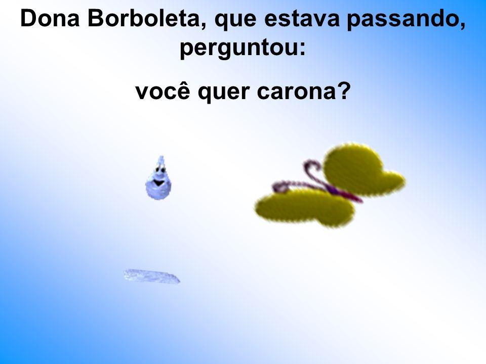 Dona Borboleta, que estava passando, perguntou: você quer carona?