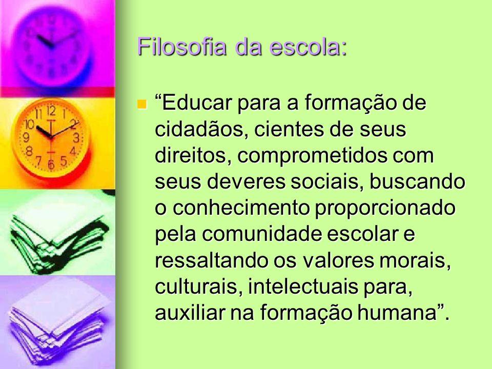 Filosofia da escola: Educar para a formação de cidadãos, cientes de seus direitos, comprometidos com seus deveres sociais, buscando o conhecimento pro