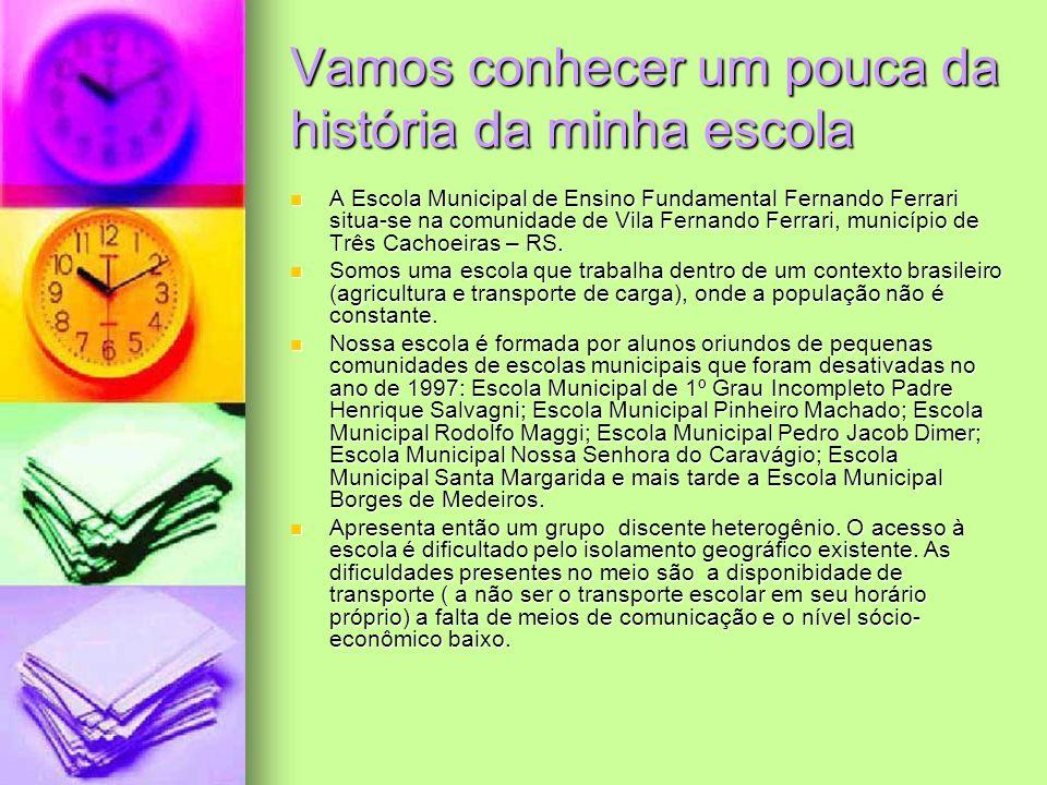 Vamos conhecer um pouca da história da minha escola A Escola Municipal de Ensino Fundamental Fernando Ferrari situa-se na comunidade de Vila Fernando