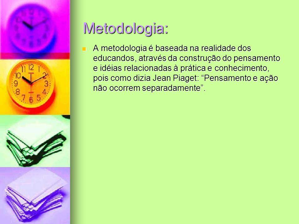 Metodologia: A metodologia é baseada na realidade dos educandos, através da construção do pensamento e idéias relacionadas à prática e conhecimento, p