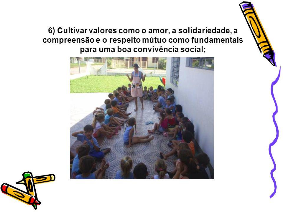 6) Cultivar valores como o amor, a solidariedade, a compreensão e o respeito mútuo como fundamentais para uma boa convivência social;