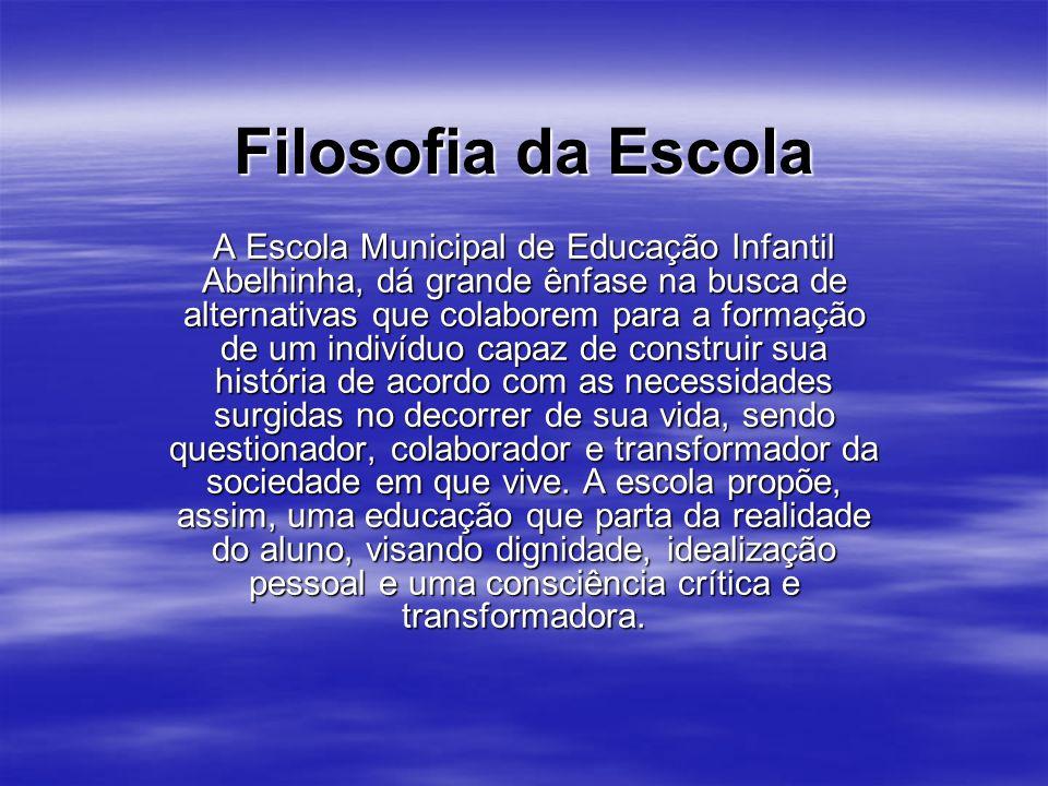 Filosofia da Escola A Escola Municipal de Educação Infantil Abelhinha, dá grande ênfase na busca de alternativas que colaborem para a formação de um i