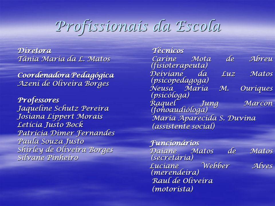 Profissionais da Escola Diretora Diretora Tânia Maria da L. Matos Tânia Maria da L. Matos Coordenadora Pedagógica Coordenadora Pedagógica Azeni de Oli