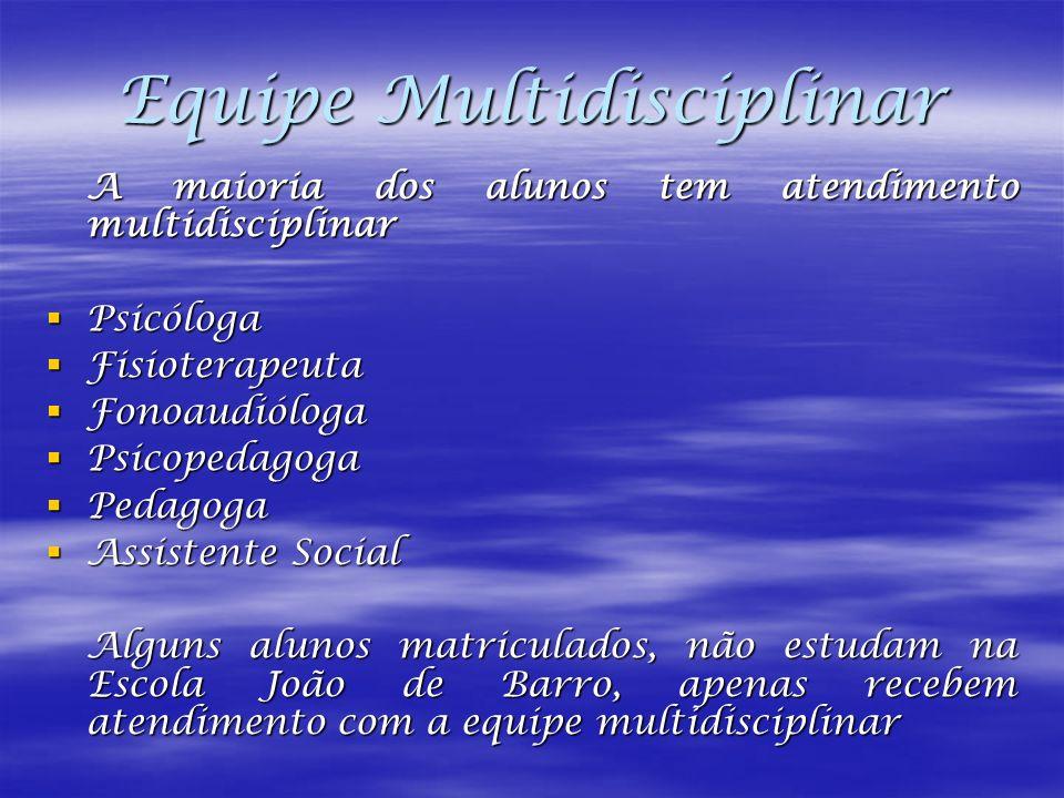 Equipe Multidisciplinar A maioria dos alunos tem atendimento multidisciplinar Psicóloga Psicóloga Fisioterapeuta Fisioterapeuta Fonoaudióloga Fonoaudi