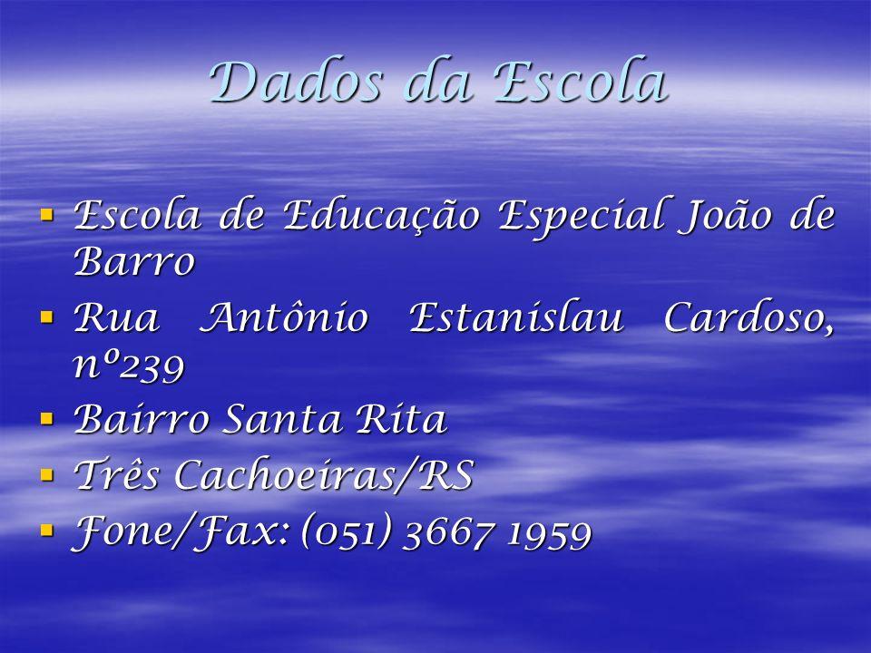 Dados da Escola Escola de Educação Especial João de Barro Escola de Educação Especial João de Barro Rua Antônio Estanislau Cardoso, nº239 Rua Antônio