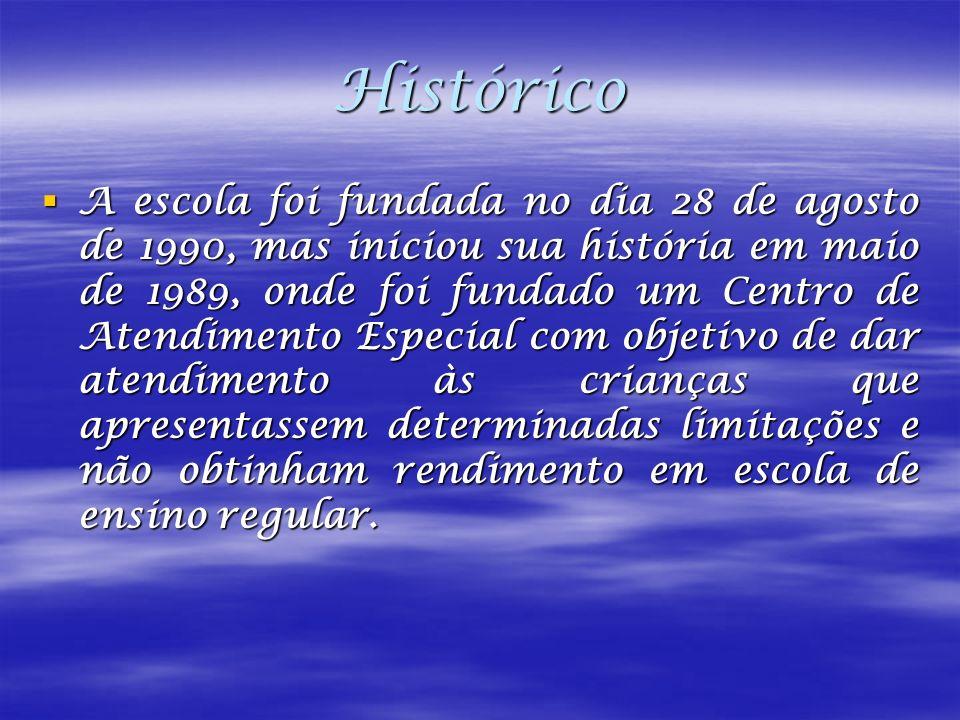 Histórico A escola foi fundada no dia 28 de agosto de 1990, mas iniciou sua história em maio de 1989, onde foi fundado um Centro de Atendimento Especi