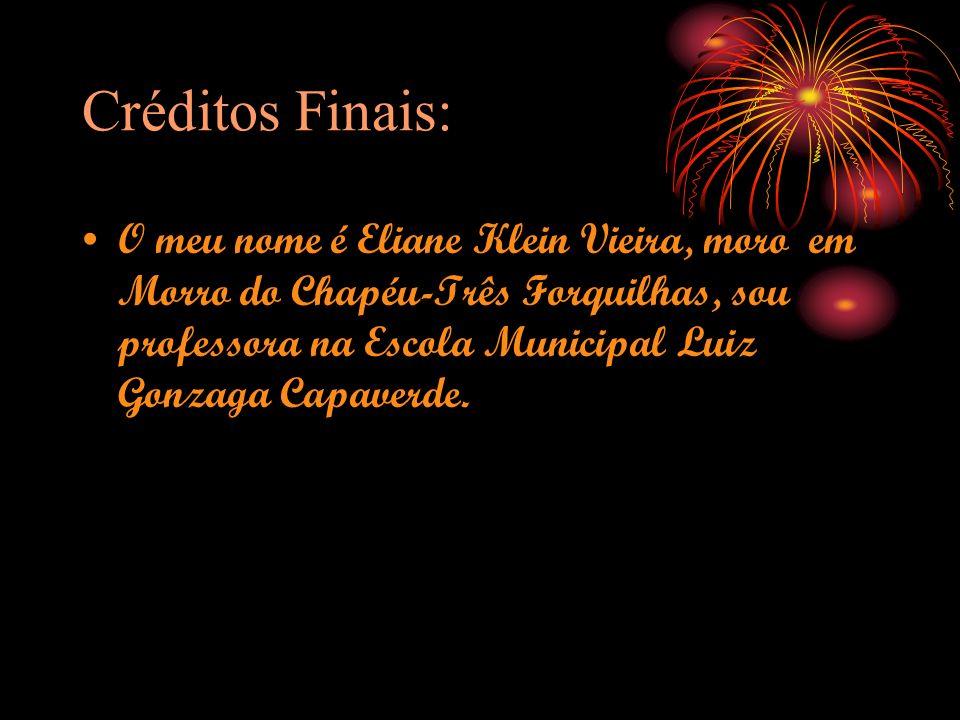 Créditos Finais: O meu nome é Eliane Klein Vieira, moro em Morro do Chapéu-Três Forquilhas, sou professora na Escola Municipal Luiz Gonzaga Capaverde.