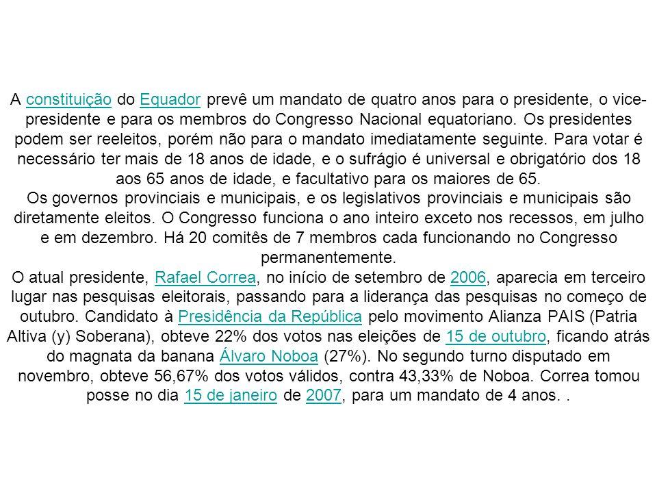A constituição do Equador prevê um mandato de quatro anos para o presidente, o vice- presidente e para os membros do Congresso Nacional equatoriano. O