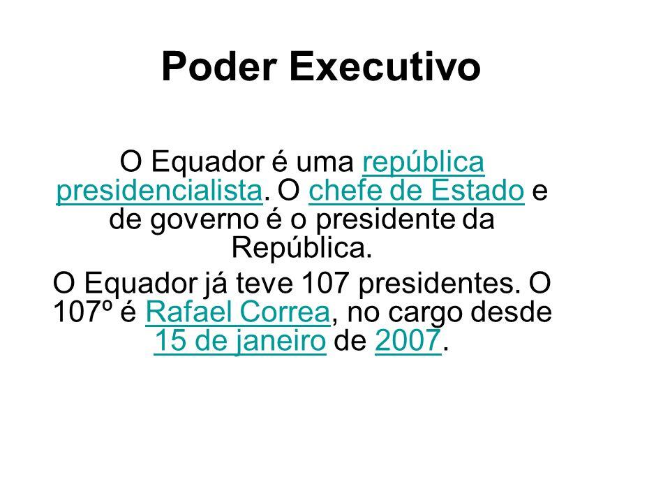 Poder Executivo O Equador é uma república presidencialista. O chefe de Estado e de governo é o presidente da República.república presidencialistachefe