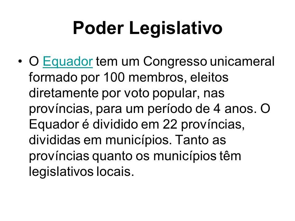 Poder Legislativo O Equador tem um Congresso unicameral formado por 100 membros, eleitos diretamente por voto popular, nas províncias, para um período