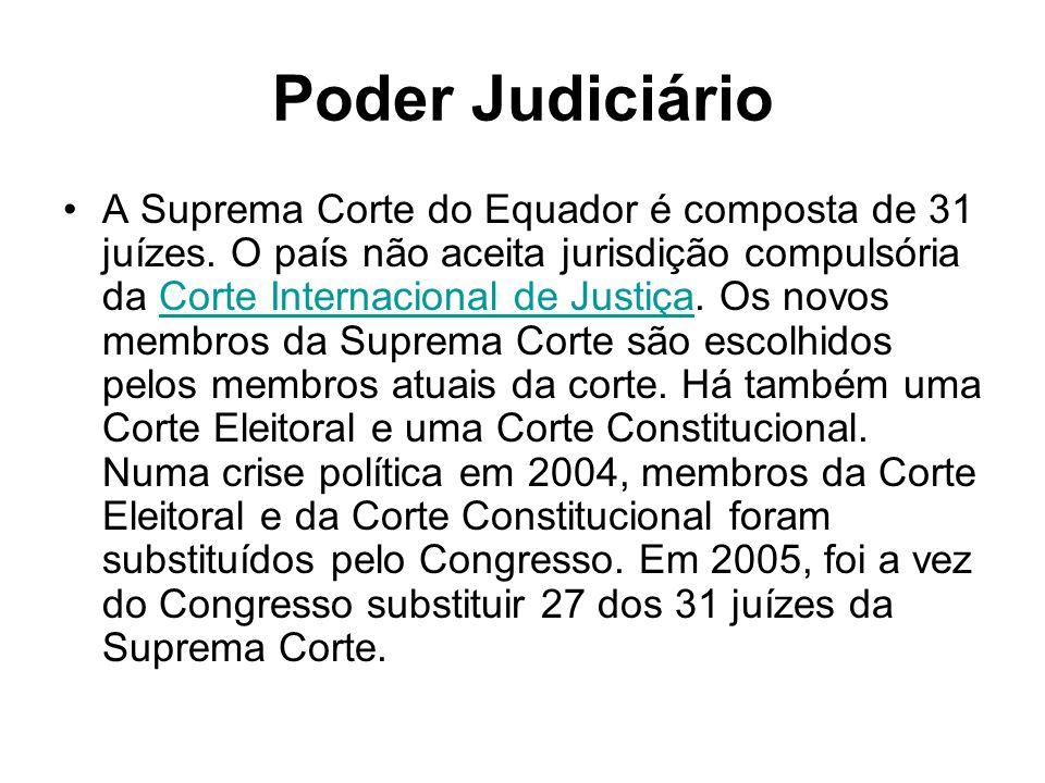 Poder Judiciário A Suprema Corte do Equador é composta de 31 juízes. O país não aceita jurisdição compulsória da Corte Internacional de Justiça. Os no