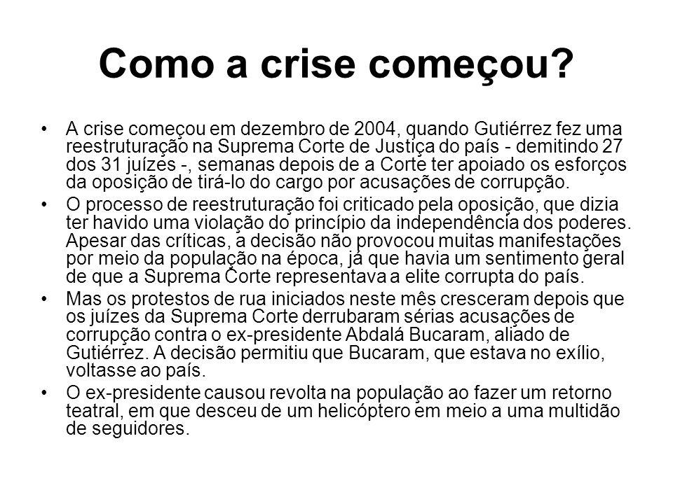 Como a crise começou? A crise começou em dezembro de 2004, quando Gutiérrez fez uma reestruturação na Suprema Corte de Justiça do país - demitindo 27