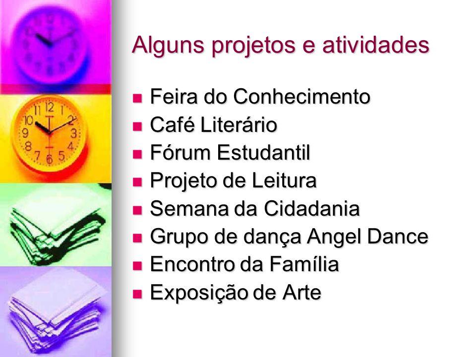 Alguns projetos e atividades Feira do Conhecimento Feira do Conhecimento Café Literário Café Literário Fórum Estudantil Fórum Estudantil Projeto de Le
