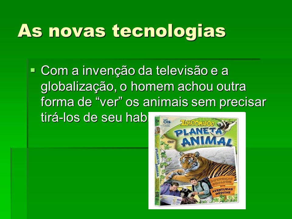 As novas tecnologias Com a invenção da televisão e a globalização, o homem achou outra forma de ver os animais sem precisar tirá-los de seu habitat. C