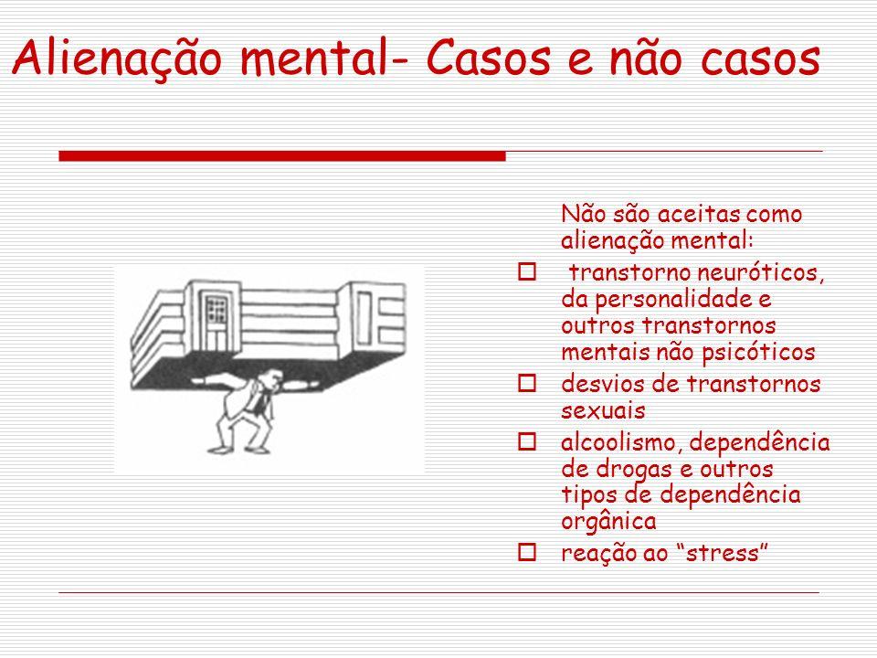 Alienação mental- Casos e não casos Não são aceitas como alienação mental: transtorno neuróticos, da personalidade e outros transtornos mentais não ps