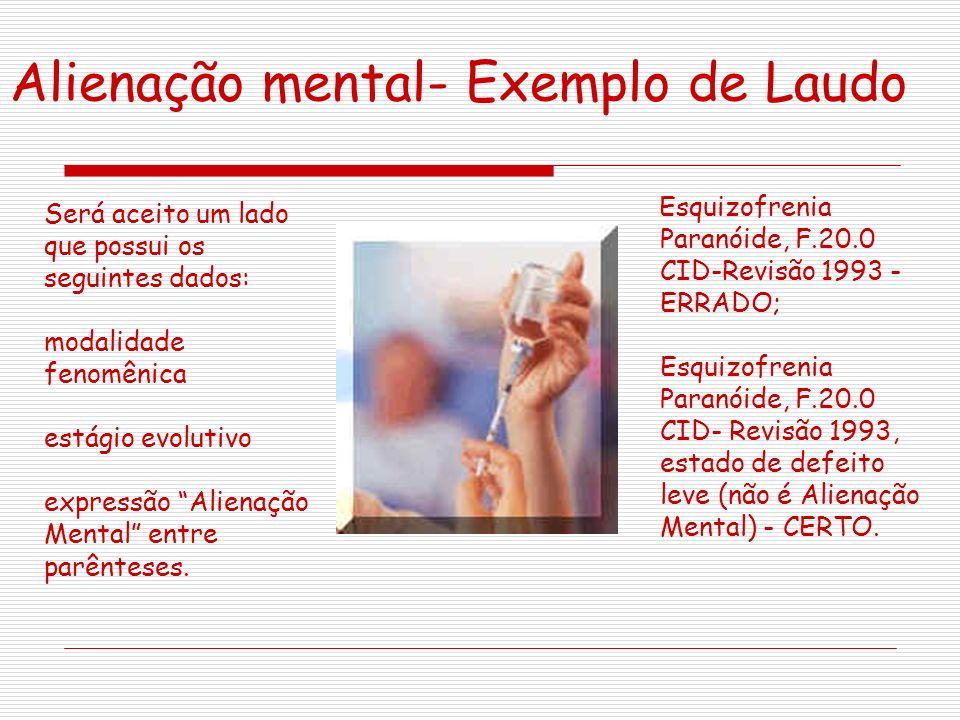 Alienação mental- Exemplo de Laudo Esquizofrenia Paranóide, F.20.0 CID-Revisão 1993 - ERRADO; Esquizofrenia Paranóide, F.20.0 CID- Revisão 1993, estad