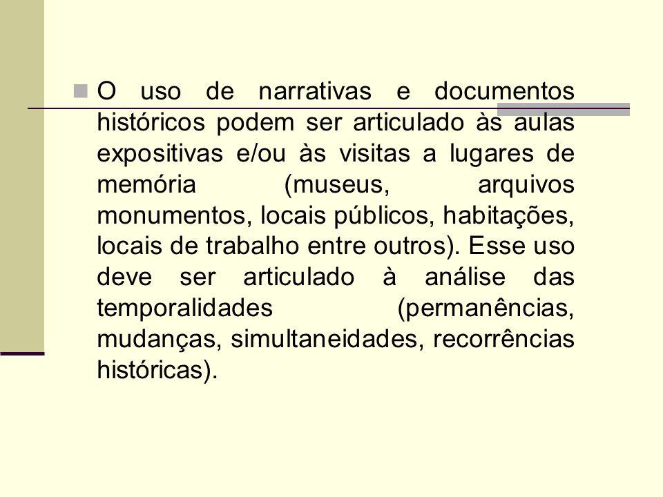 O uso de narrativas e documentos históricos podem ser articulado às aulas expositivas e/ou às visitas a lugares de memória (museus, arquivos monumento