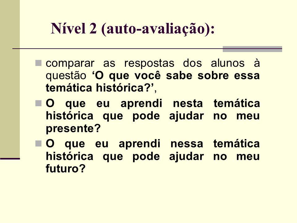 Nível 2 (auto-avaliação): comparar as respostas dos alunos à questão O que você sabe sobre essa temática histórica?, O que eu aprendi nesta temática h