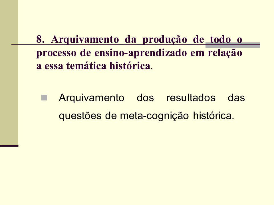 8. Arquivamento da produção de todo o processo de ensino-aprendizado em relação a essa temática histórica. Arquivamento dos resultados das questões de