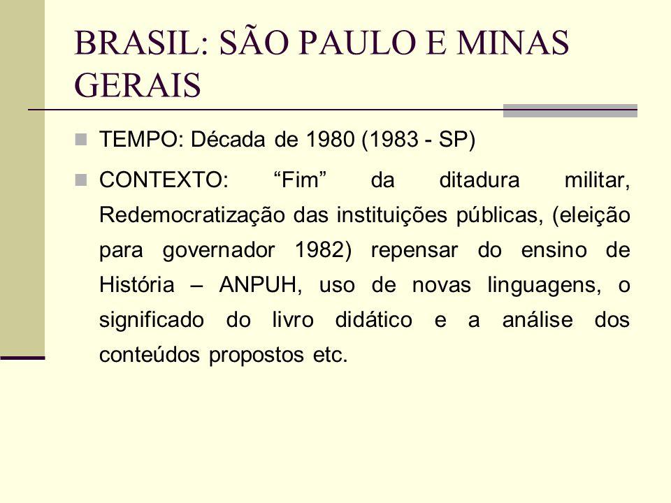 BRASIL: SÃO PAULO E MINAS GERAIS TEMPO: Década de 1980 (1983 - SP) CONTEXTO: Fim da ditadura militar, Redemocratização das instituições públicas, (ele
